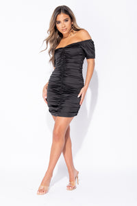 Black Satin Ruched Front Bardot Bodycon Mini Dress