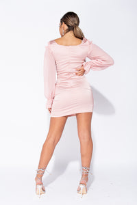 Nude Satin Sheer Sleeve Cold Shoulder Bodycon Mini Dress