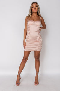 Nude Satin Bust Cup Ruched Mini Dress
