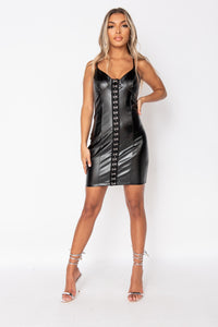 Black Faux Leather Hook & Eye Bodycon Strap Dress