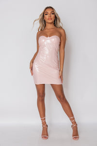 Pink Cup Detail Wet Look Bandeau Mini Dress
