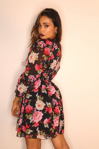 Black Floral Flute Sleeve Smock Mini Dress