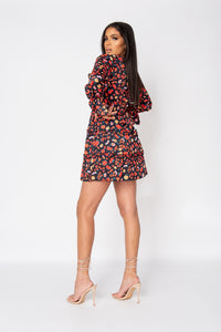 Black Floral Balloon Sleeve Smock Dress