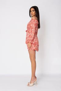 Red Floral Layered Bardot Mini Dress