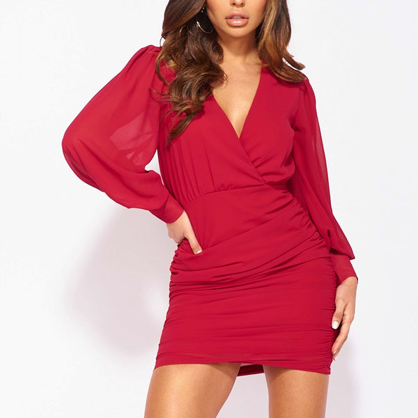 Wine Sheer Puff Sleeve Ruched Side Wrapover Mini Dress