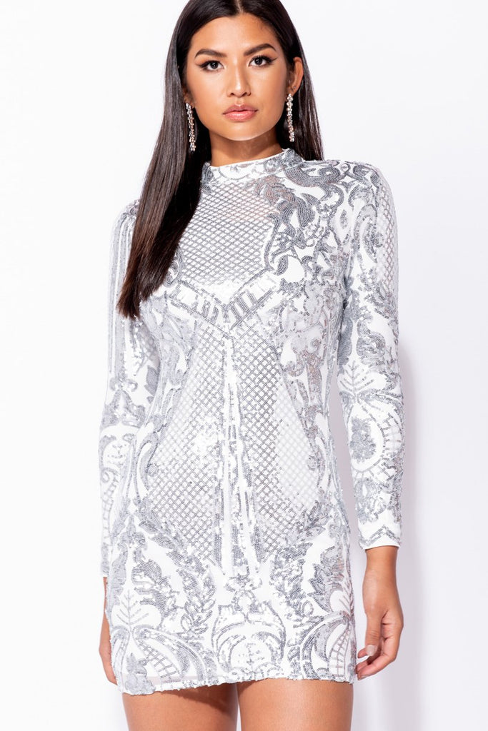 Image: White Silver Pewter Sequin High Neck Bodycon MIni Dress