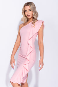 Pink Frill Detail One Shoulder Bodycon Midi Dress
