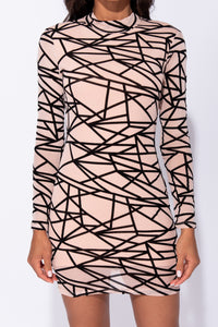 Nude Abstract Print Long Sleeved Mesh Bodycon Dress
