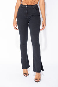 Charcoal Side Slit Detail High Waist Flared Jeans