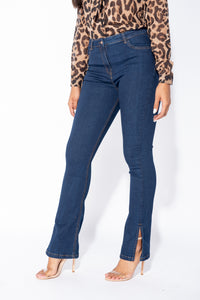Indigo Side Slit Detail High Waist Flared Jeans