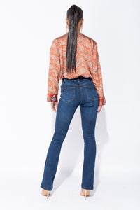 Dark Blue High Waist Flared Jeans