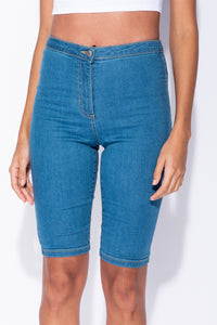 Mid Blue Denim High Waist Cycling Shorts