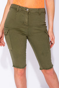 Khaki Utility Denim Cycling Shorts