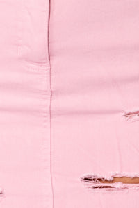 Pink Frayed Hem Distressed Denim Mini Skirt