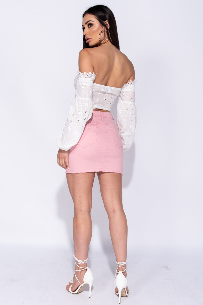 6d8523594060bc ... White Broderie Lace Up Front Puff Sleeve Crop Top ...