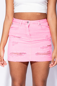 Neon Pink Distressed Detail Stretch Denim Mini Skirt