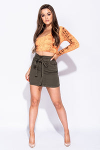 Khaki Paper Bag Waist Tie Waist Denim Mini Skirt
