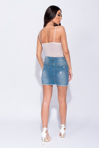 Mid Blue Distressed Button Up Detail Denim Mini Skirt