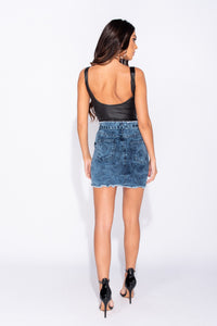 Acid Patch Pocket Paperbag Waist Belted Denim Skirt
