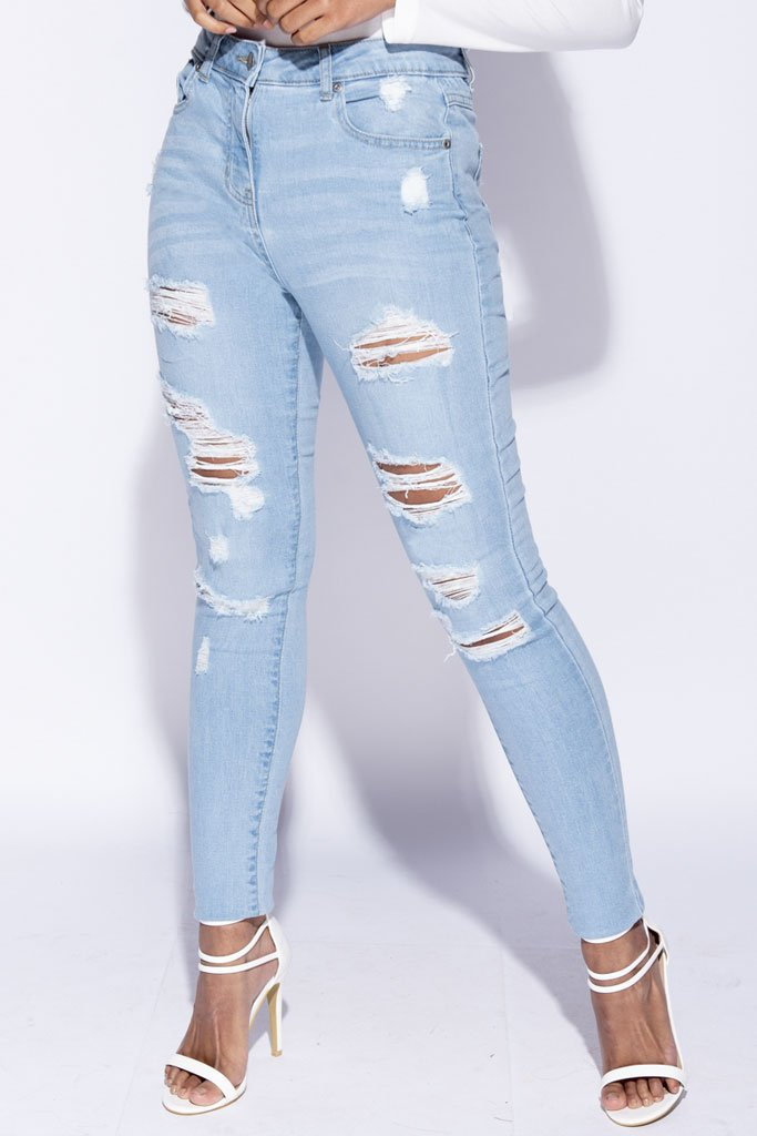 Image: Light Blue Distressed High Waist Jeans