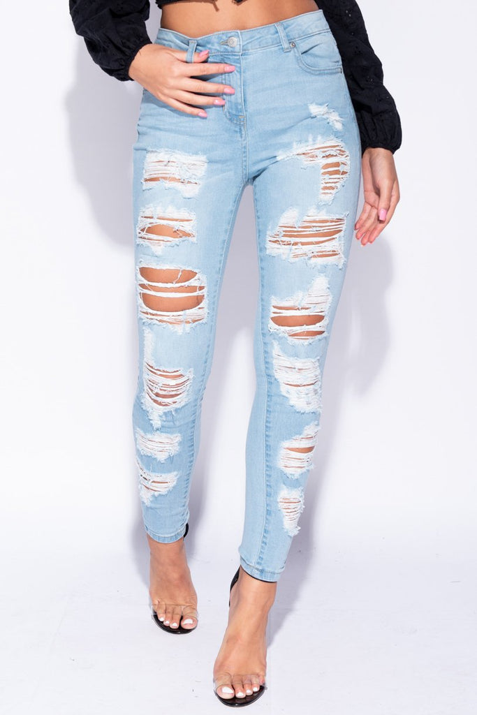 Image: Light Blue High Waist Distressed Jeans