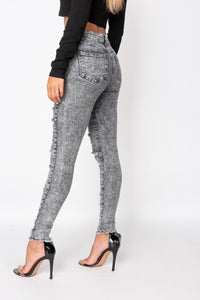 Grey Acid Multi Rip High Waisted Skinny Jeans
