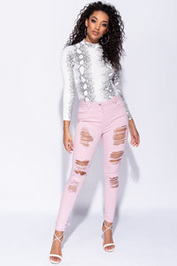 Lilac Multi Rip Mid Rise Skinny Jeans