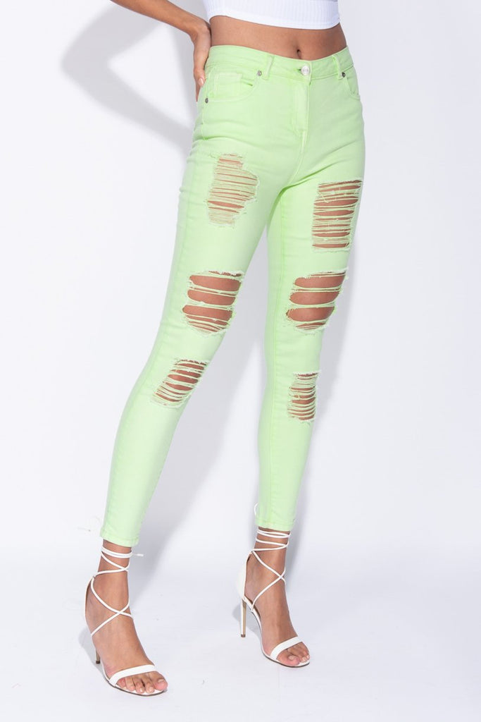 Image: Green Distressed High Waist Jeans - Parisian-uk