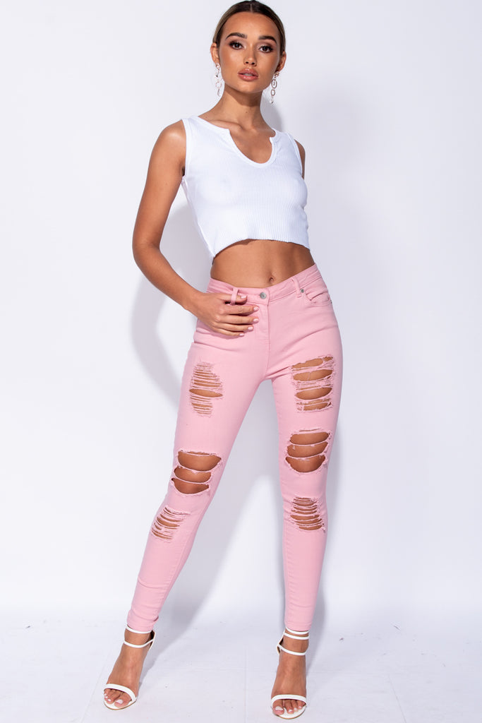 Image: Pink High Waist Distressed Skinny Jeans