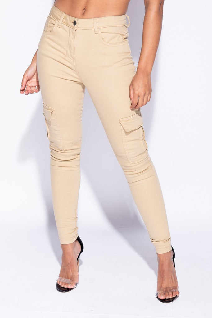 Image: Camel High Waist Cargo Jeans - Parisian-uk