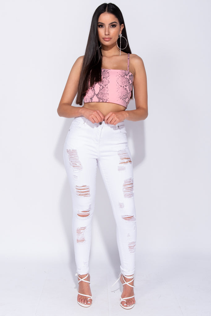 Image: White Distressed High Waist Jeans