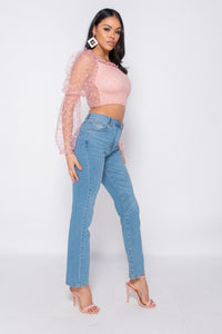 Mid Blue Straight Leg High Waisted Jean