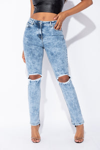 Mid Blue Acid Knee Rip Distressed Straight Leg High Waist Jeans