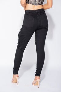 Black Extreme Distressed High Waist Skinny Jeans