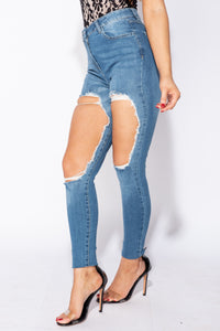 Dark Blue Extreme Distressed High Waist Skinny Jeans