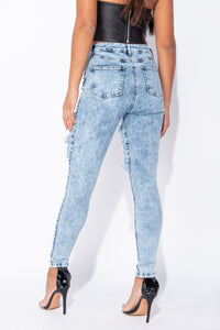 Mid Blue Acid Extreme Distressed High Waist Skinny Jeans