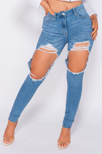 Light Blue Extreme Distressed High Waist Skinny Jeans
