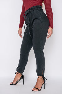 Charcoal Paperbag Waist Tie Up Hem Jeans
