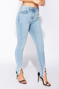 Light Blue Extreme Distressed Hem Skinny Jeans