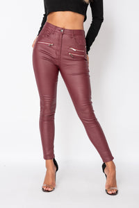 Wine Coated Zip Detail High Waist Skinny Jeans