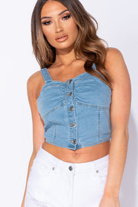 Light Blue Button Up Front Denim Crop Top
