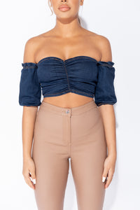 Indigo Ruching Detail Short Sleeve Bandeau Denim Crop Top