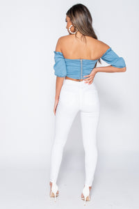 Light Blue Ruching Detail Short Sleeve Bandeau Denim Crop Top