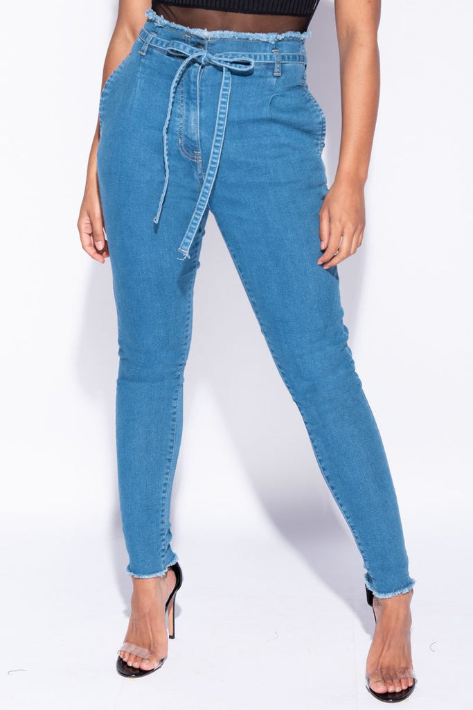 Image: Mid Blue High Waisted Paperbag Waist Belted Skinny Jeans