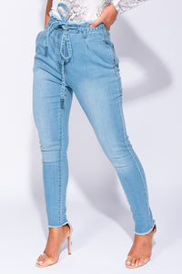 Light Blue Paperbag Waist Self Belt Stretch Skinny Jeans
