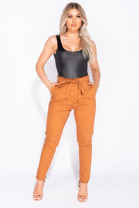 Rust Paper Bag Waist Tie Detail High Waist Jeans