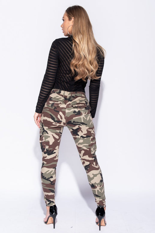 Image: Camouflage Patch Pocket Skinny Cargo Trousers - Parisian-uk