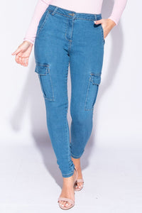 Mid Blue Cargo Pocket Mid Rise Skinny Jeans