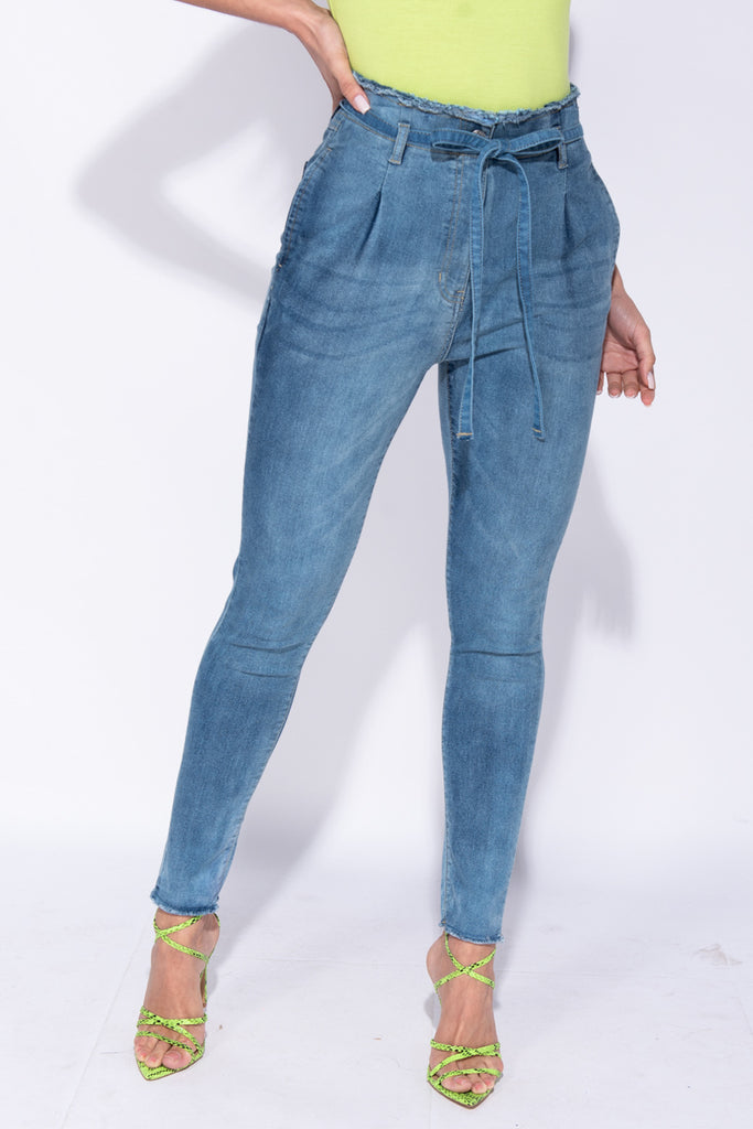 Image: Dark Blue Denim Paper Bag Waist Frayed Hem Jeans - Parisian-uk