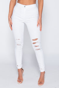 White Multi Knee Rip High Waisted Jeggings
